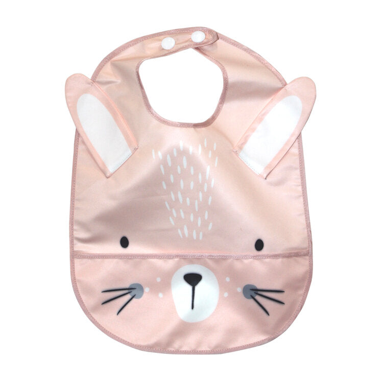 Wipeable Feeding Bib | Pink Bunny