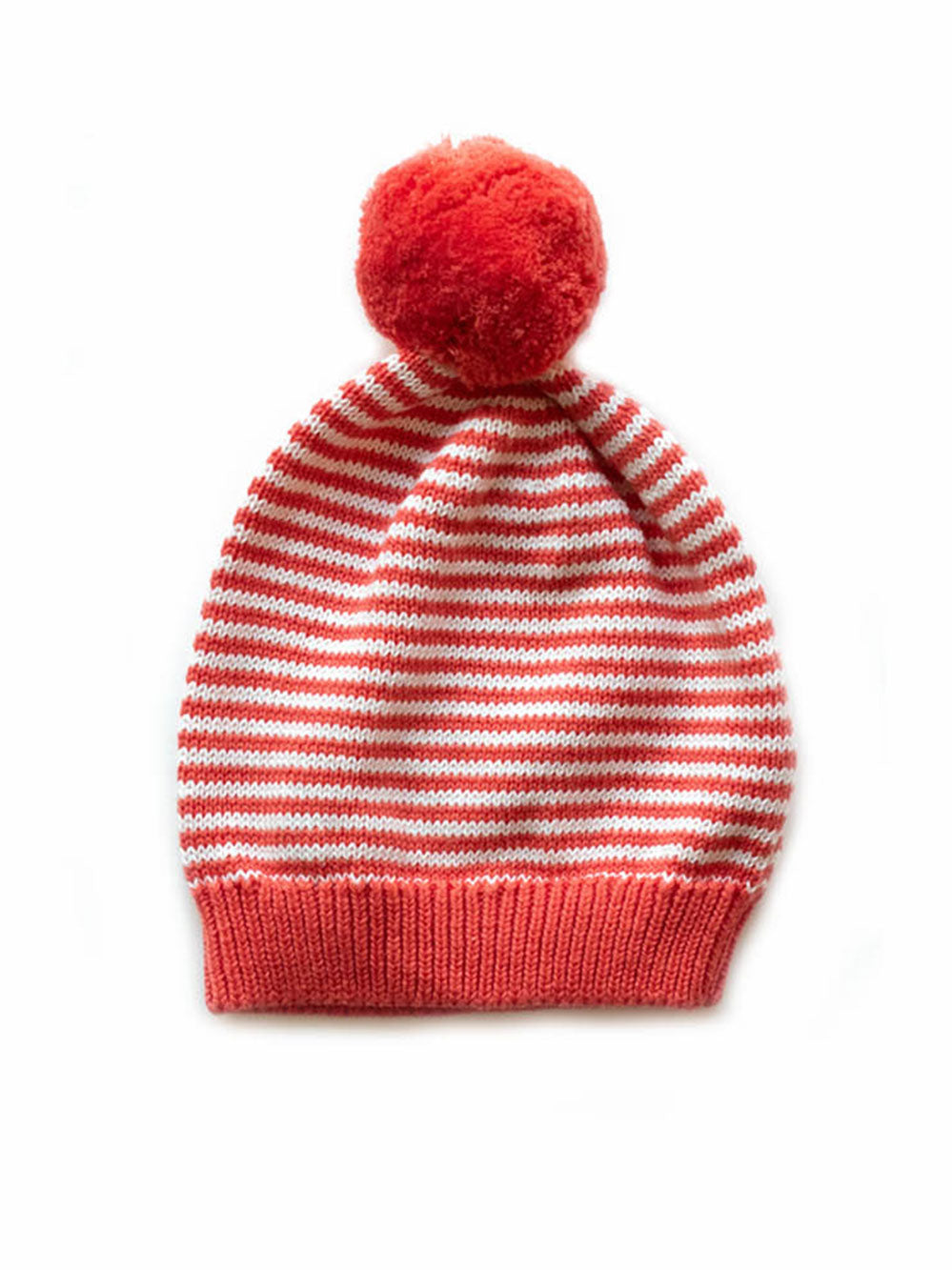 Big Pom Baby Hat | Coral & Ivory