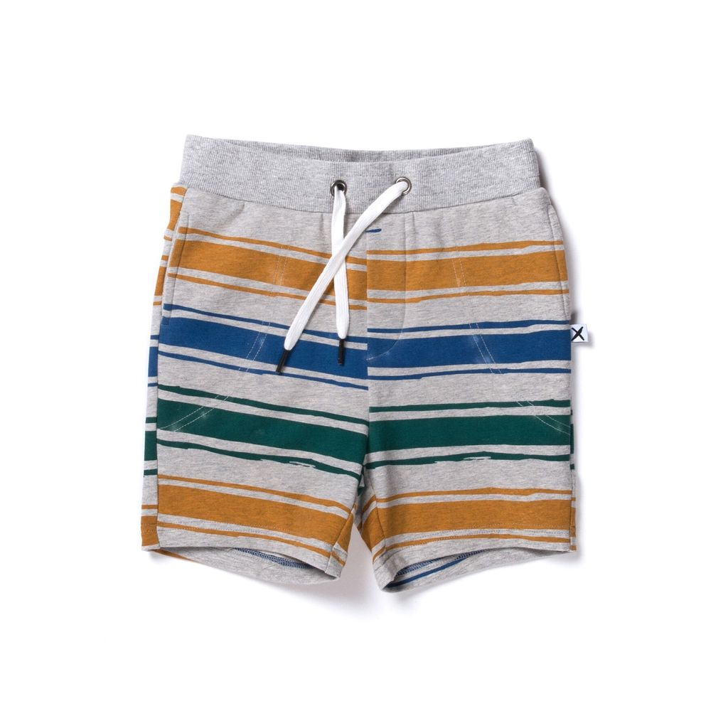 Chalk Stripe Short | Grey, Orange and Green