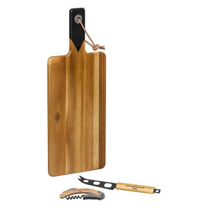 Cheese Board & Knife Set with Wine Opener