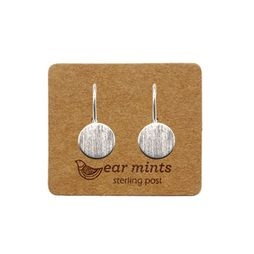 Earmints | Brushed Flat Circle Hook Earrings Silver