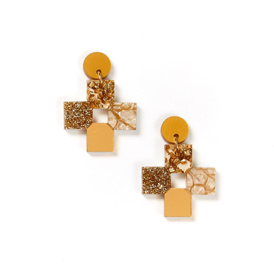 Cross Earrings | Gold