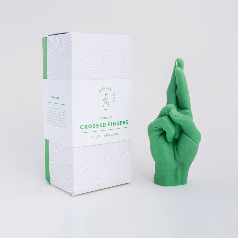 Crossed Fingers Hand Gesture Candle | Green