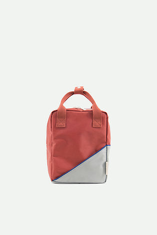 small backpack | diagonal faded red + powder blue