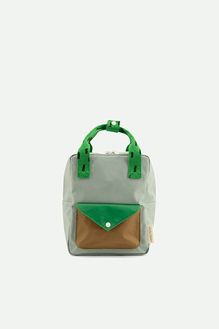 small backpack | steel blue + apple green