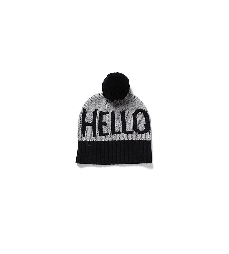 Hello Beanie | Grey and Black