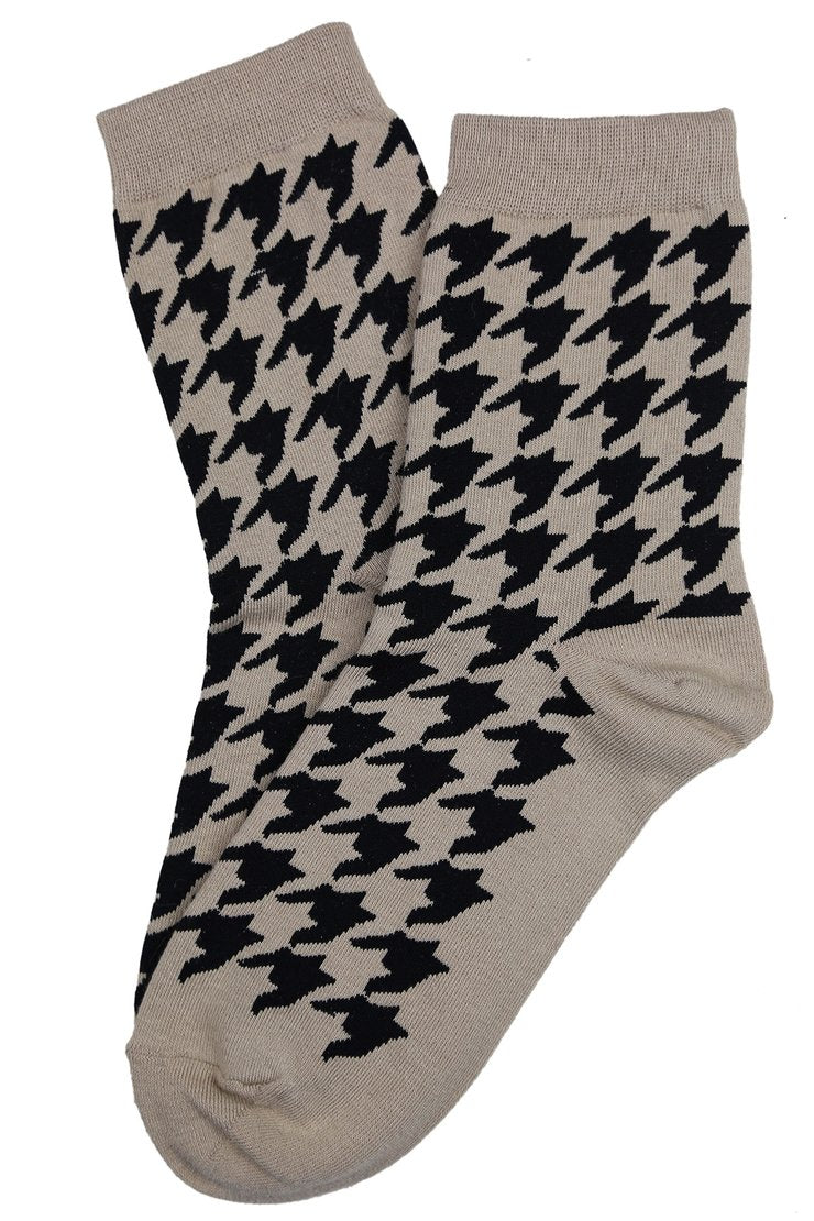 Hilary Houndstooth Socks | Beige