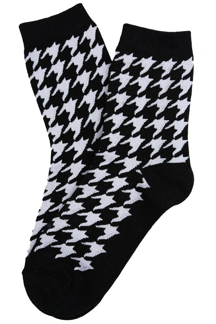 Hilary Houndstooth Socks |  Black
