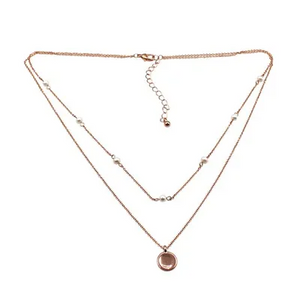 Layered Pearl Disc Necklace | Rose Gold