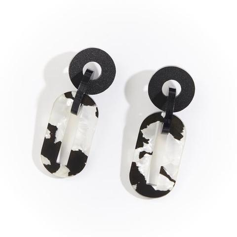 Jigsaw Earring | Black and White