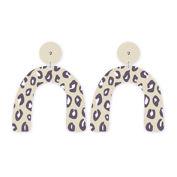 Arch Earrings | Latte Animal Print