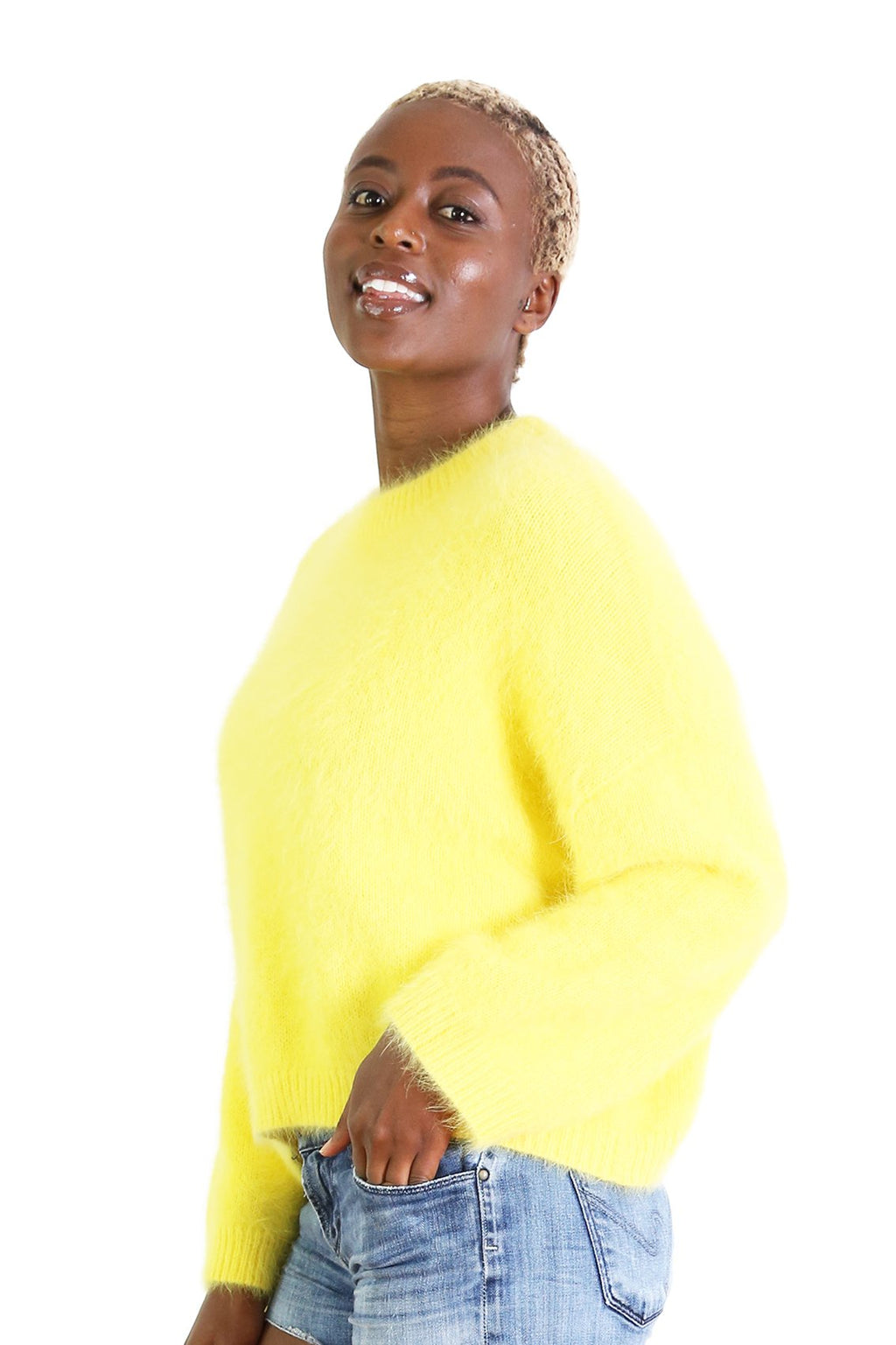 Montreal Angora Knit Sweater | Yellow