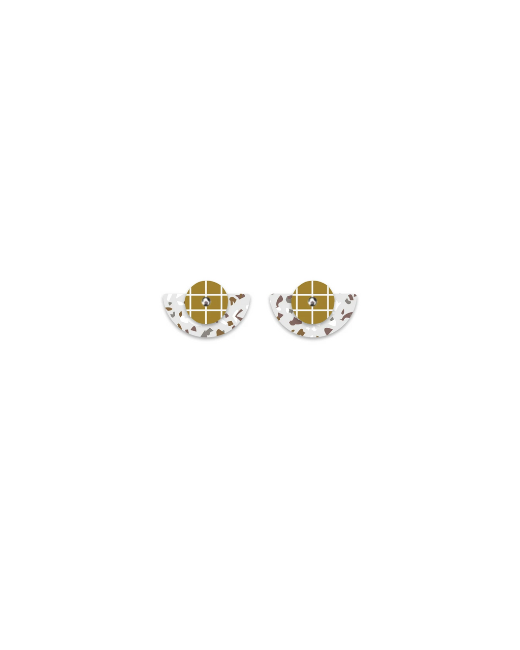 Layered Small Moon Studs | Neutral Tones Terrazzo Grid