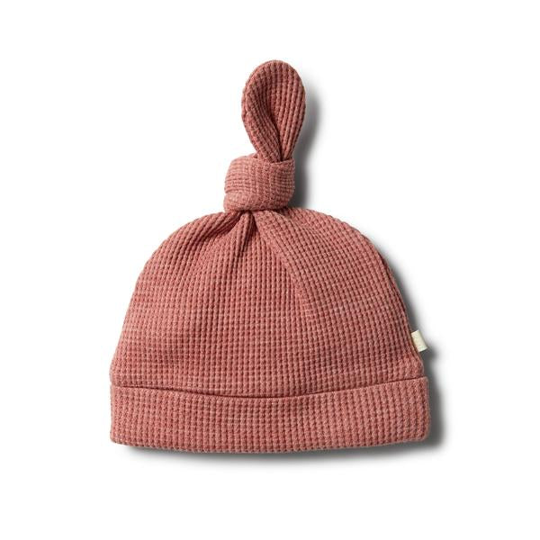 Peach Waffle Knot Hat