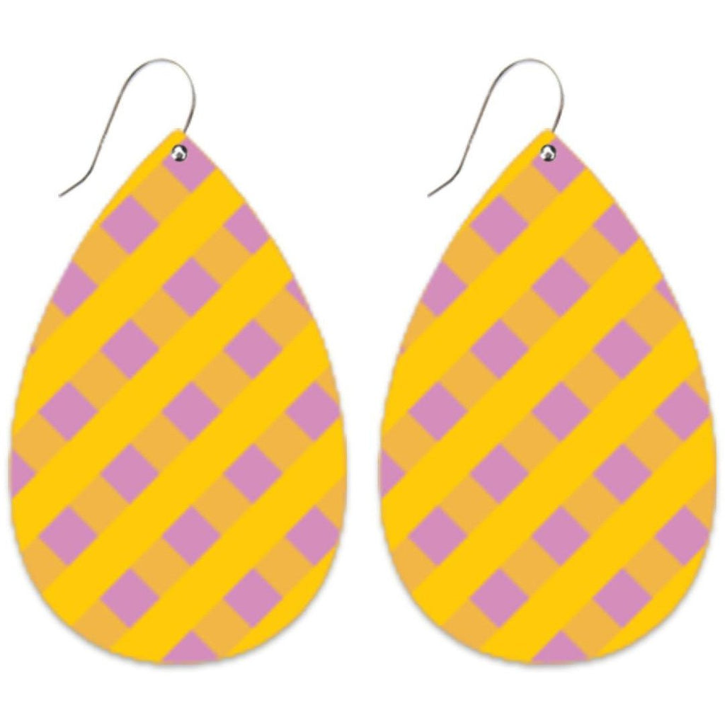 Big Tear Drop Earrings | Lilac Gingham