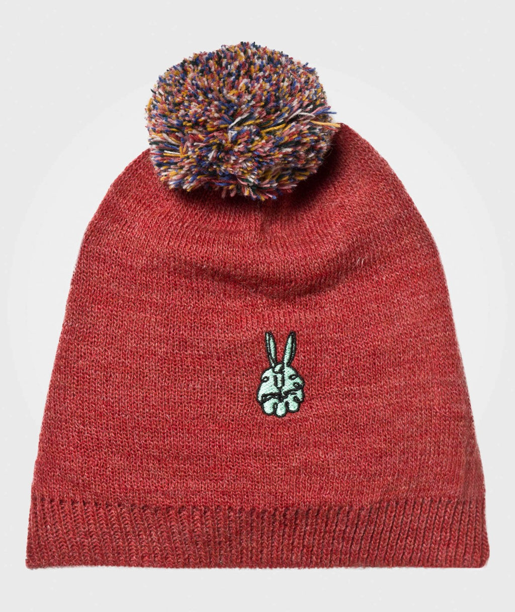 Knitted Bunny Beanie | Red