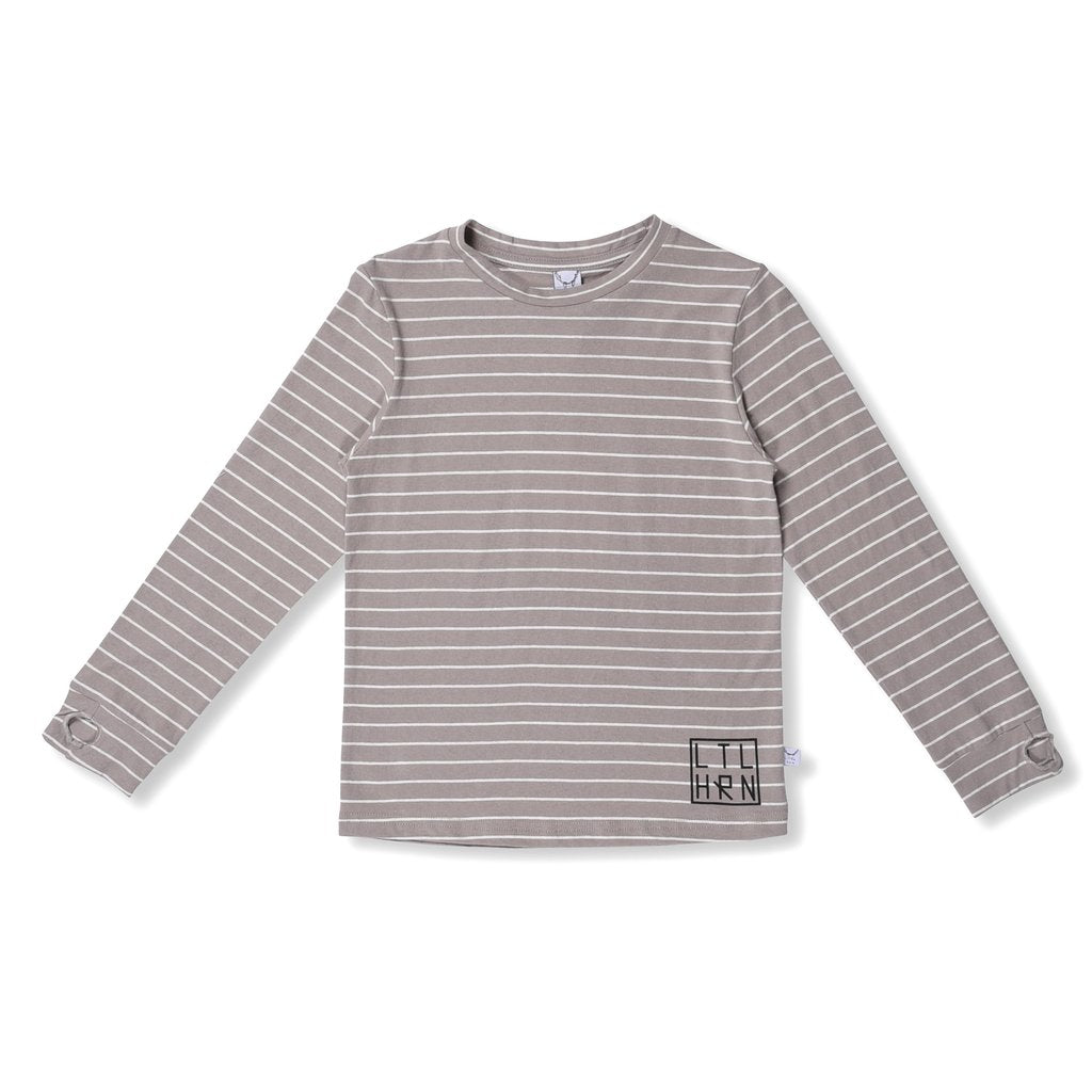 Striped Thumbhole Tee Grey Stripe