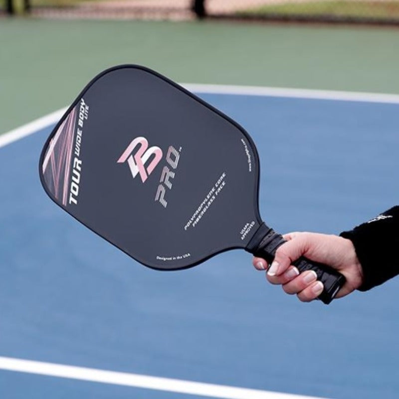 PB Pro™ Tour Widebody Lite 7.8 oz Coral Fiberglass Paddle USAPA Approved - PB PRO™ Pickleball Brand