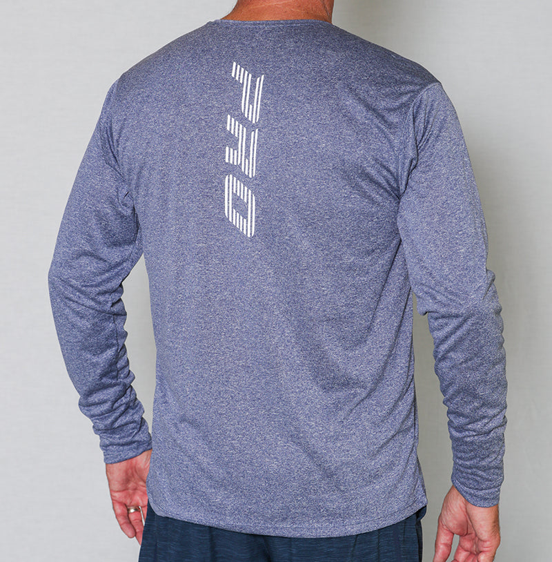 PB Pro™ Men's High-Tech Cationic Navy Heather Long Sleeve - PB PRO™ Pickleball Brand