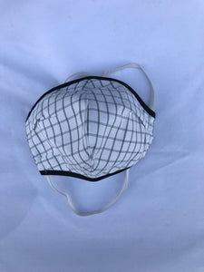 5M - VP2 WEIGHTLESS MASK - POLYPROPYLENE-BACKED COTTON POPLIN || BLACK AND WHITE PLAID