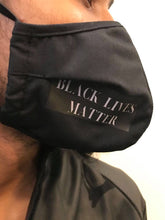 Load image into Gallery viewer, 5M - VP2 WEIGHTLESS MASK - POLYPROPYLENE-BACKED COTTON || BLACK LIVES MATTER WHITE TEXT ON BLACK