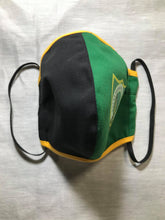 Load image into Gallery viewer, 5M - VP2 WEIGHTLESS MASK JAMAICAN HS EDITION - POLYPROPYLENE-BACKED COTTON || EXCELSIOR HS GREEN AND BLACK