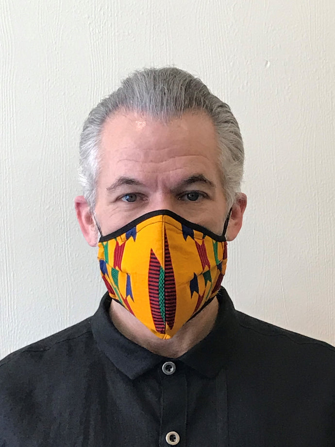 5M - VP2 MASK - POLYPROPYLENE-BACKED COTTON || AFRO PRINT YELLOW