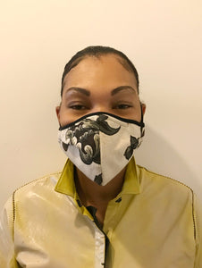 5M - VP2 MASK - POLYPROPYLENE-BACKED LINEN || FLORAL PRINT