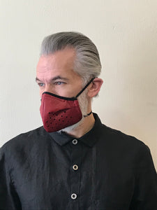 5M - VP2 MASK - POLYPROPYLENE-BACKED HAND PERFORATED LEATHER || RED