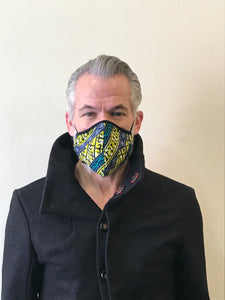 5M - VP2 MASK - POLYPROPYLENE-BACKED COTTON || BLUE AND YELLOW AFRO PRINT