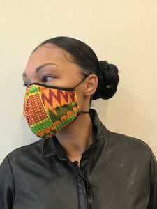 5M - VP2 MASK - POLYPROPYLENE-BACKED PRINTED COTTON || AFRO PRINT A