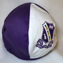 Load image into Gallery viewer, 5M - VP2 MASK JAMAICAN HS EDITION - POLYPROPYLENE-BACKED COTTON || KINGSTON COLLEGE PURPLE AND WHITE