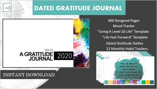 2020 Dated Daily Colorful Gratitude Journal