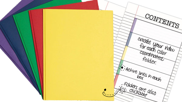 3 Prong Notebook | 5 Assorted Colors with Index