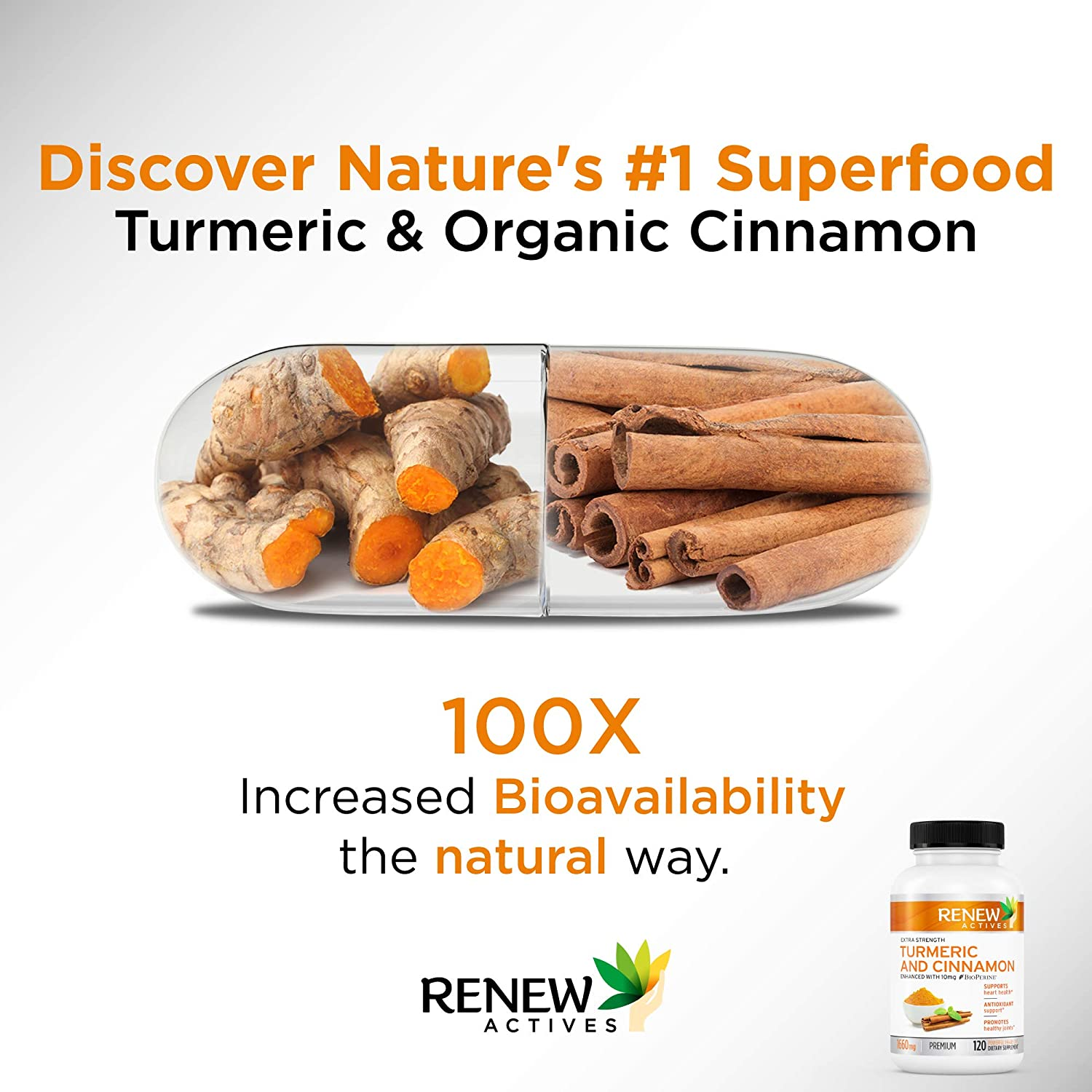 Renew Actives Turmeric Cinnamon Anti Inflammatory Supplement