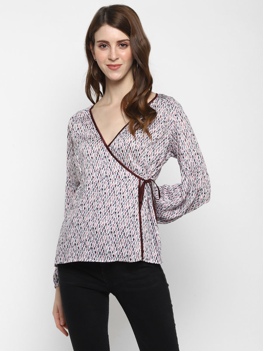 PRINTED WRAP TOP