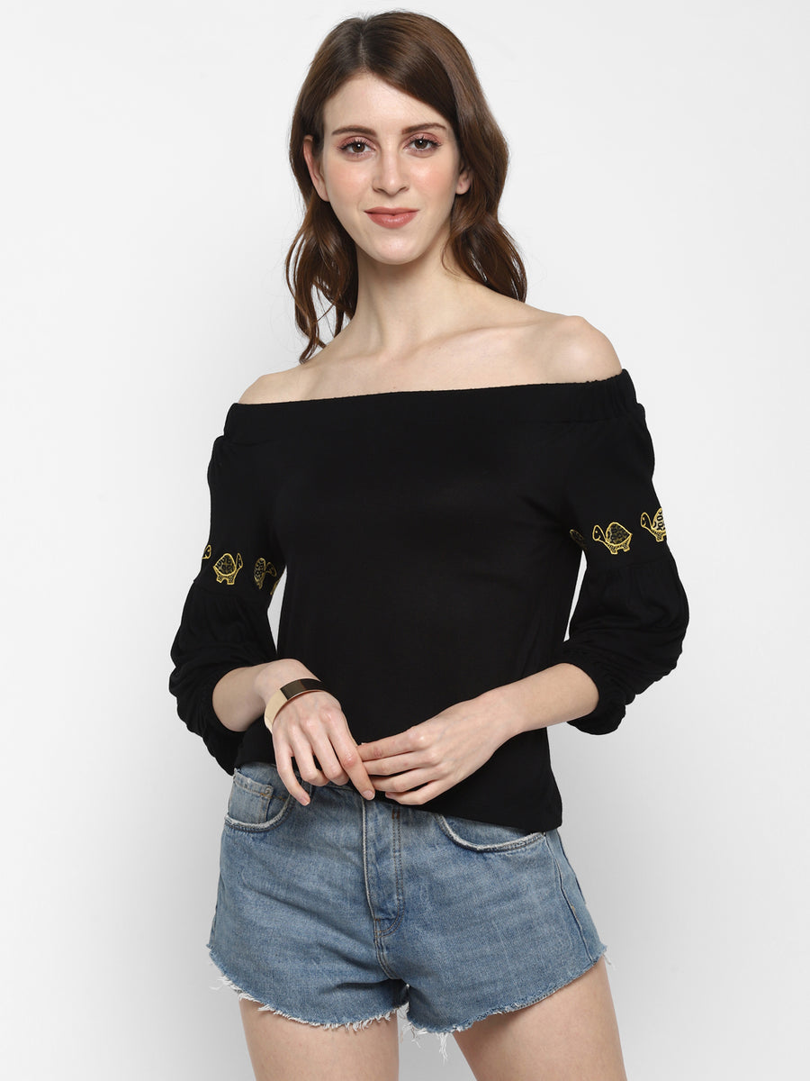 BLACK BARDOT TOP WITH EMBROIDERY
