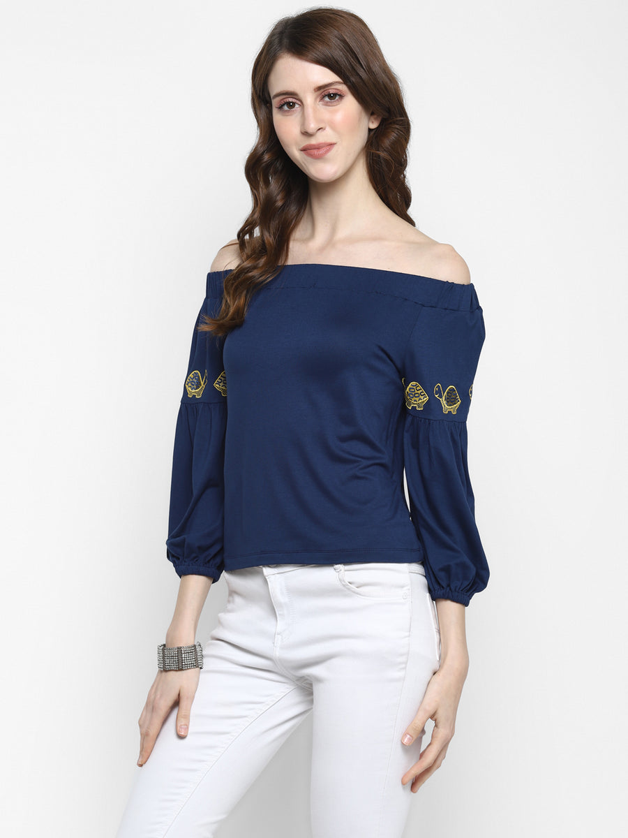 NAVY BARDOT TOP WITH EMBROIDERY