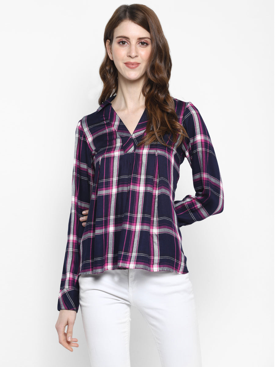 PLAID PLEATED SHIRT TOP