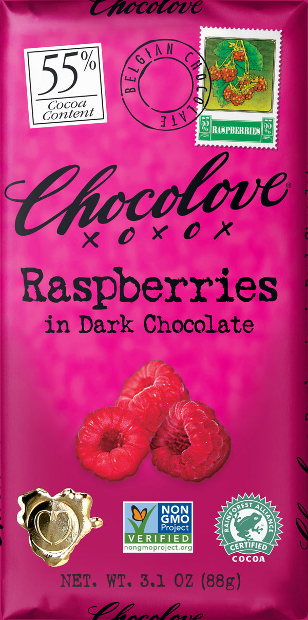 Chocolove XOXOX Raspberries in Dark Chocolate Bar