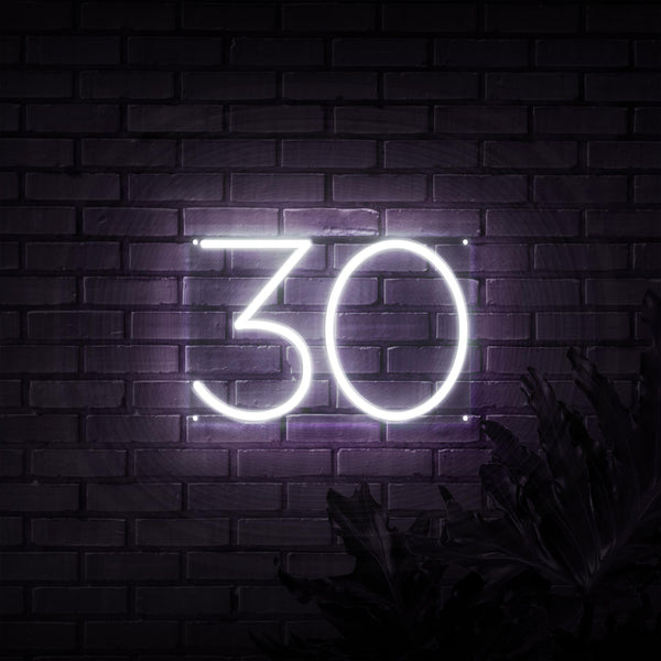 30 Birthday Numbers Outline Neon Sign - Sketch & Etch Neon