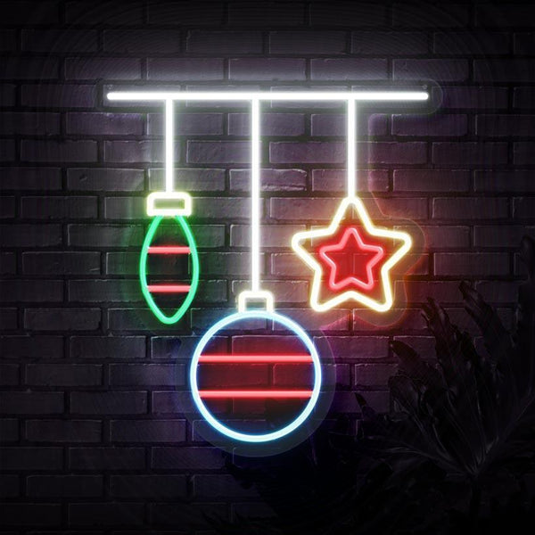 Christmas Ornaments Neon Sign