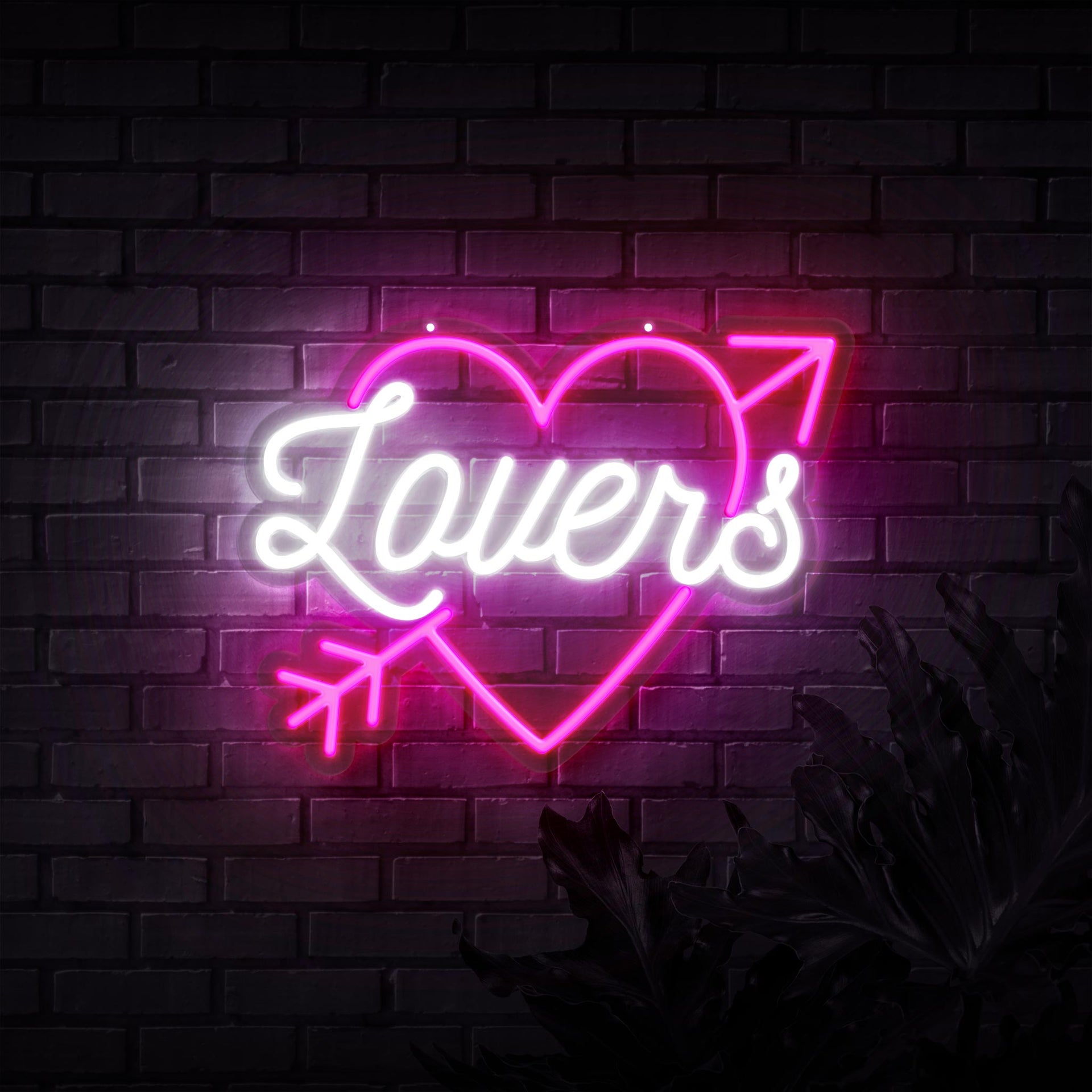 Lovers In Heart Neon Sign - Sketch & Etch Neon