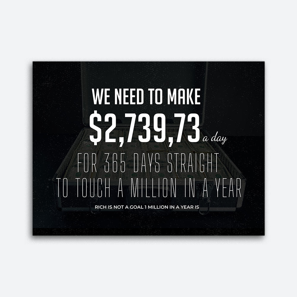 A Million In A Year Motivational Inspirational Canvas Wall Art