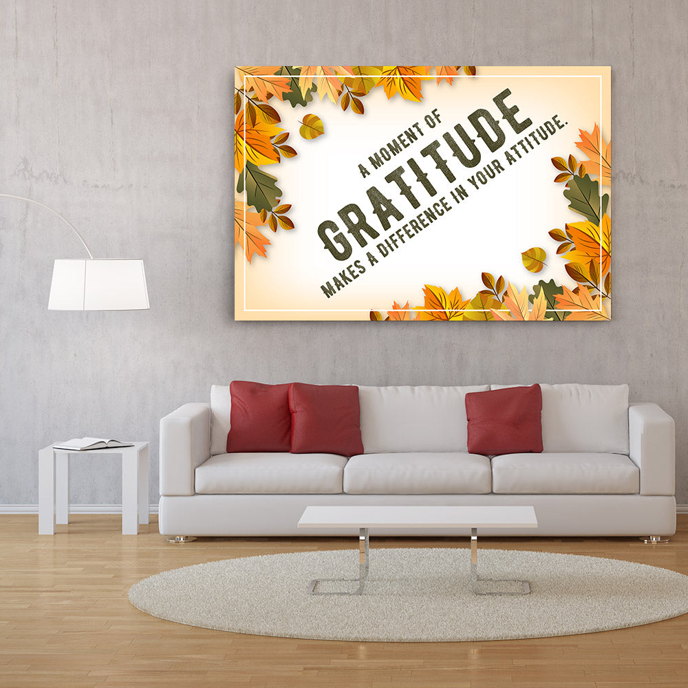 A Moment of Gratitude Quote Canvas Wall Art