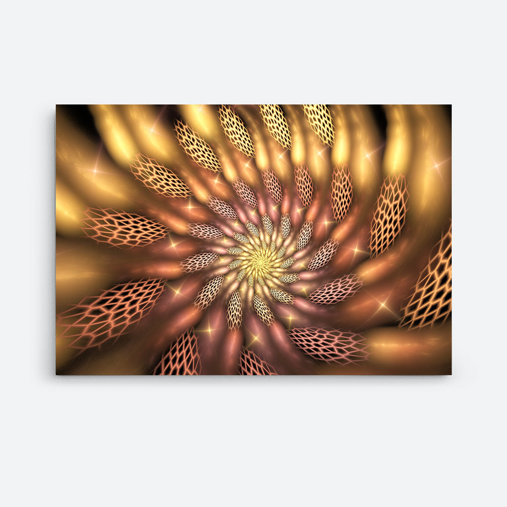 Abstract Surreal Golden Flower Canvas Wall Art