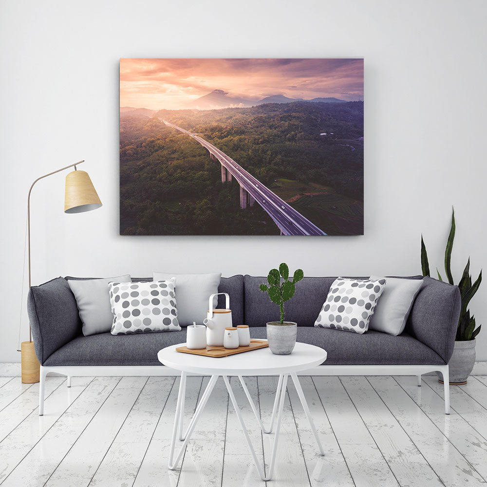 Aerial view at sunset Canvas Wall Art