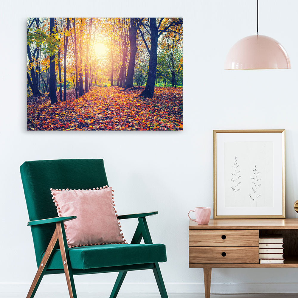 Alley Sunny Autumn Park Nature Canvas Wall Art