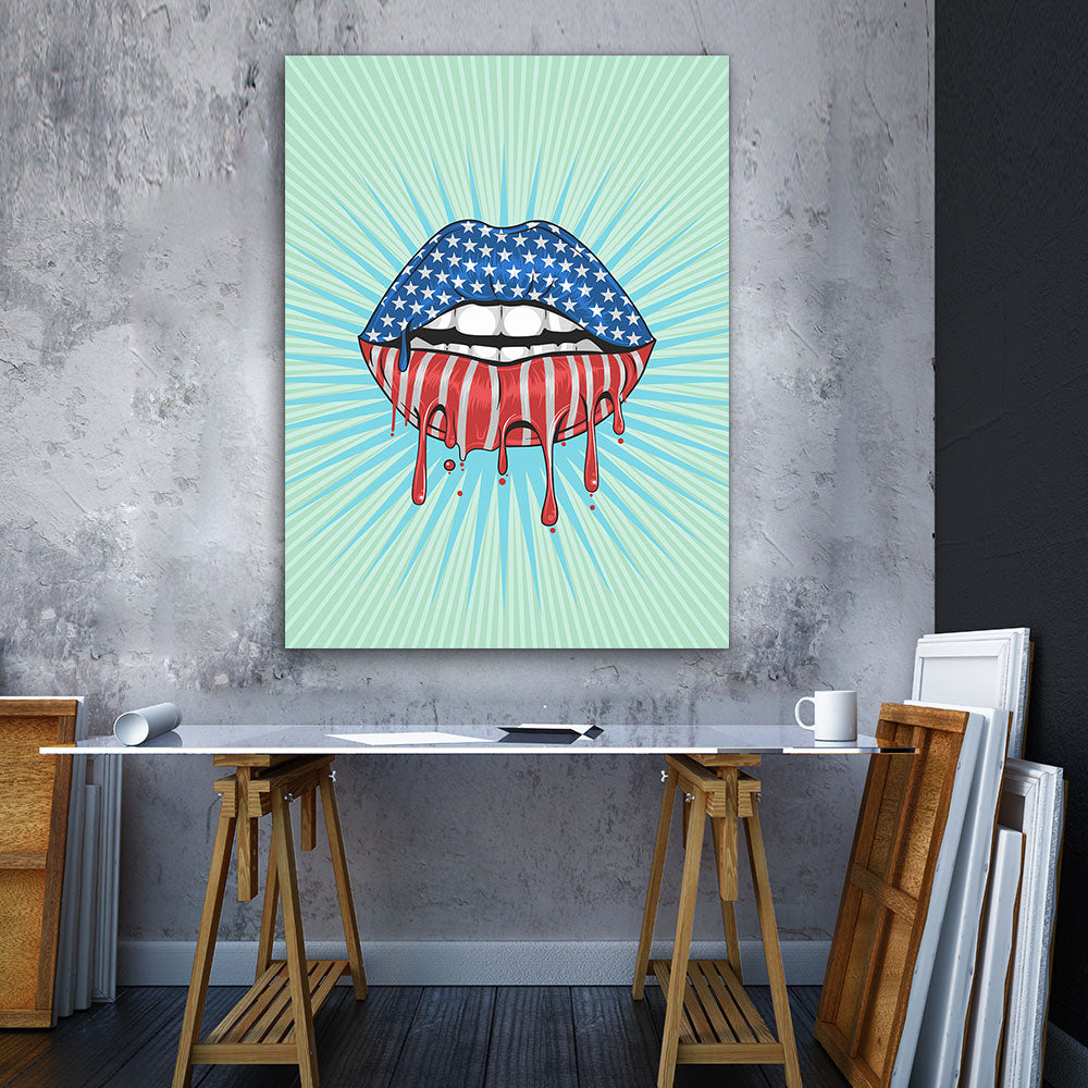 Decorate your walls with USA Flag Lips wall art, canvas prints from Makemyprints!