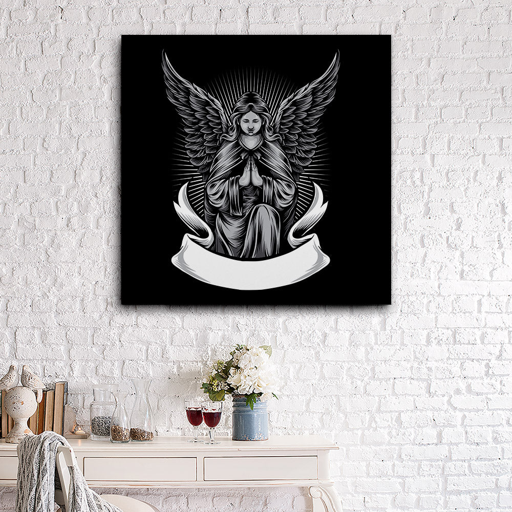 Angel Statue Canvas Wall Art